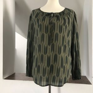 Cloth & Stone S Printed Green Long Sleeve Blouse